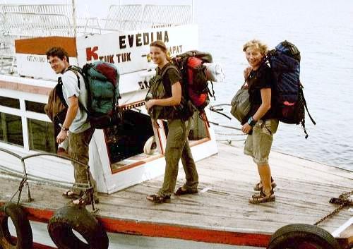 Geert, Julia, Maike, Pulau Samosir, Lake Toba, Sumatra, Indonesien